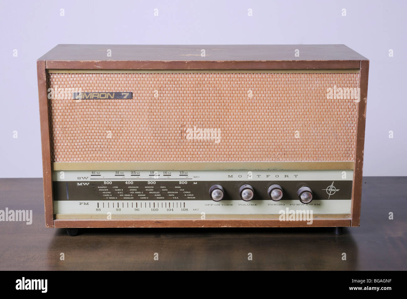 Cutout of a retro Amron 7 radio receiver (Manufactured in Israel by Amcor) on white background - Stock Image