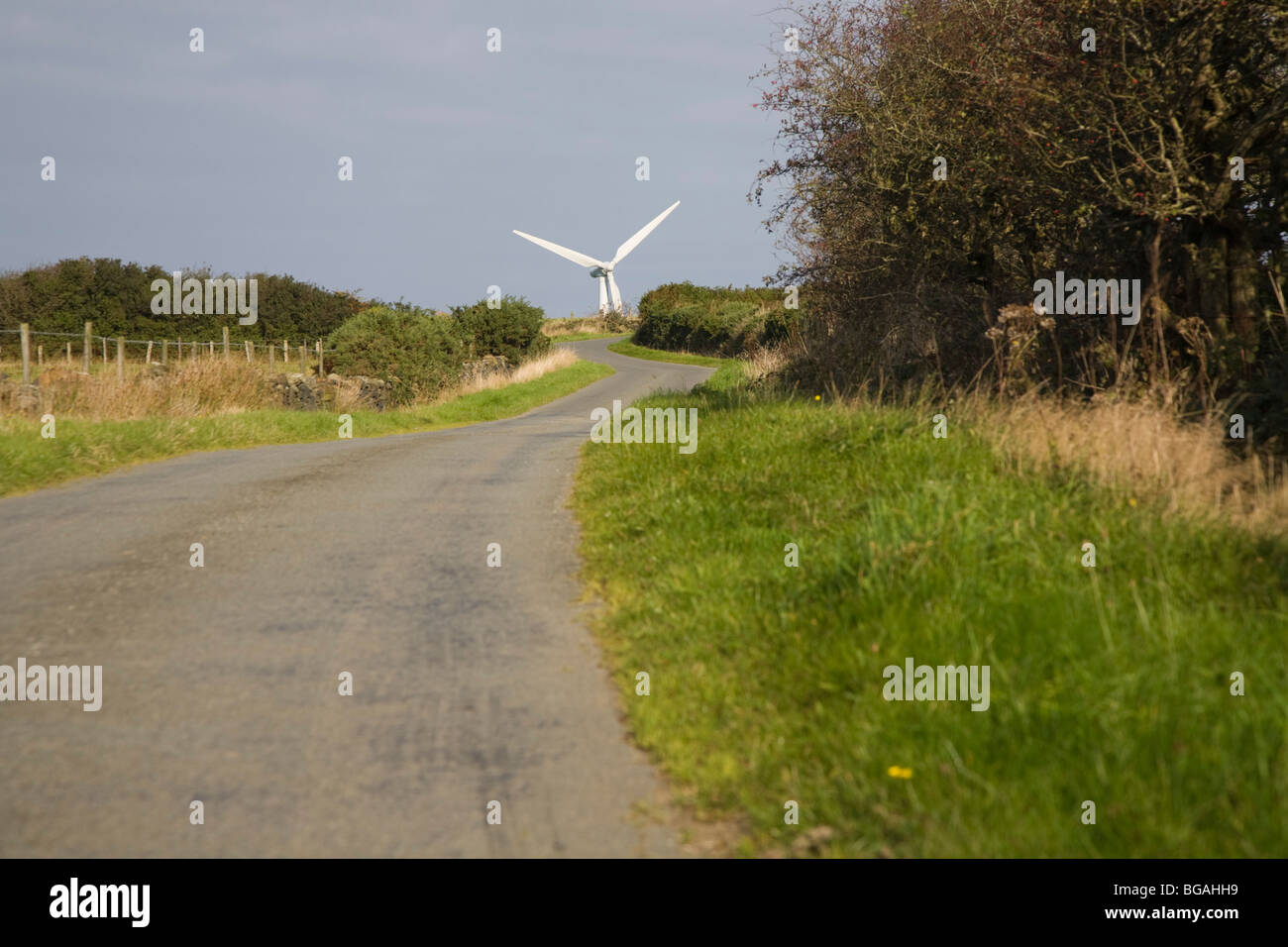 Windkraft, street to windpark near Dulas - Stock Image