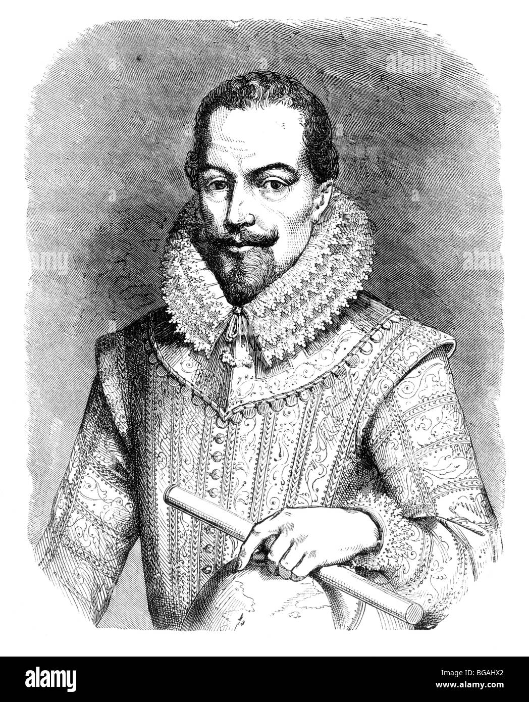 Illustration; Portrait of Sir Walter Raleigh - Stock Image