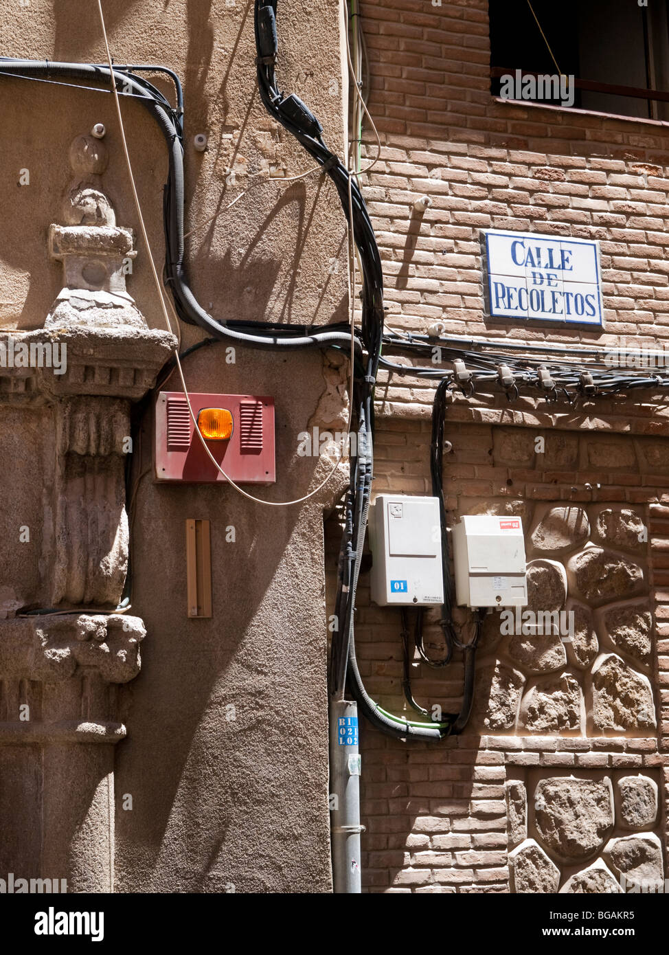 Electric Wiring Outside Of An Old House In Recoletos Street Electrical Toledo Spain