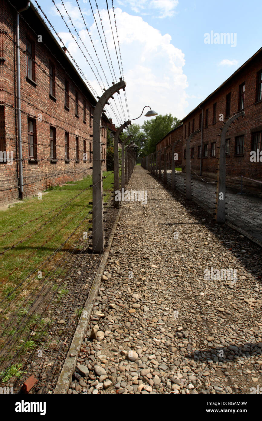 Camp Buildings and security fencing at Auschwitz I Concentration Camp, Oświęcim, Poland Stock Photo