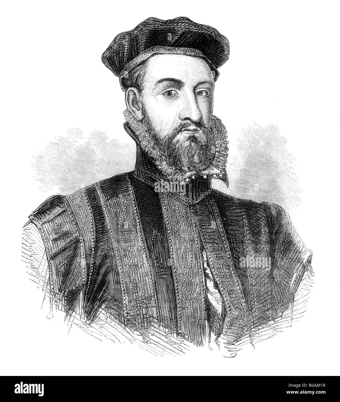 Black and White Illustration; Portrait of James Stewart, 1st Earl of Moray, or Murray Stock Photo