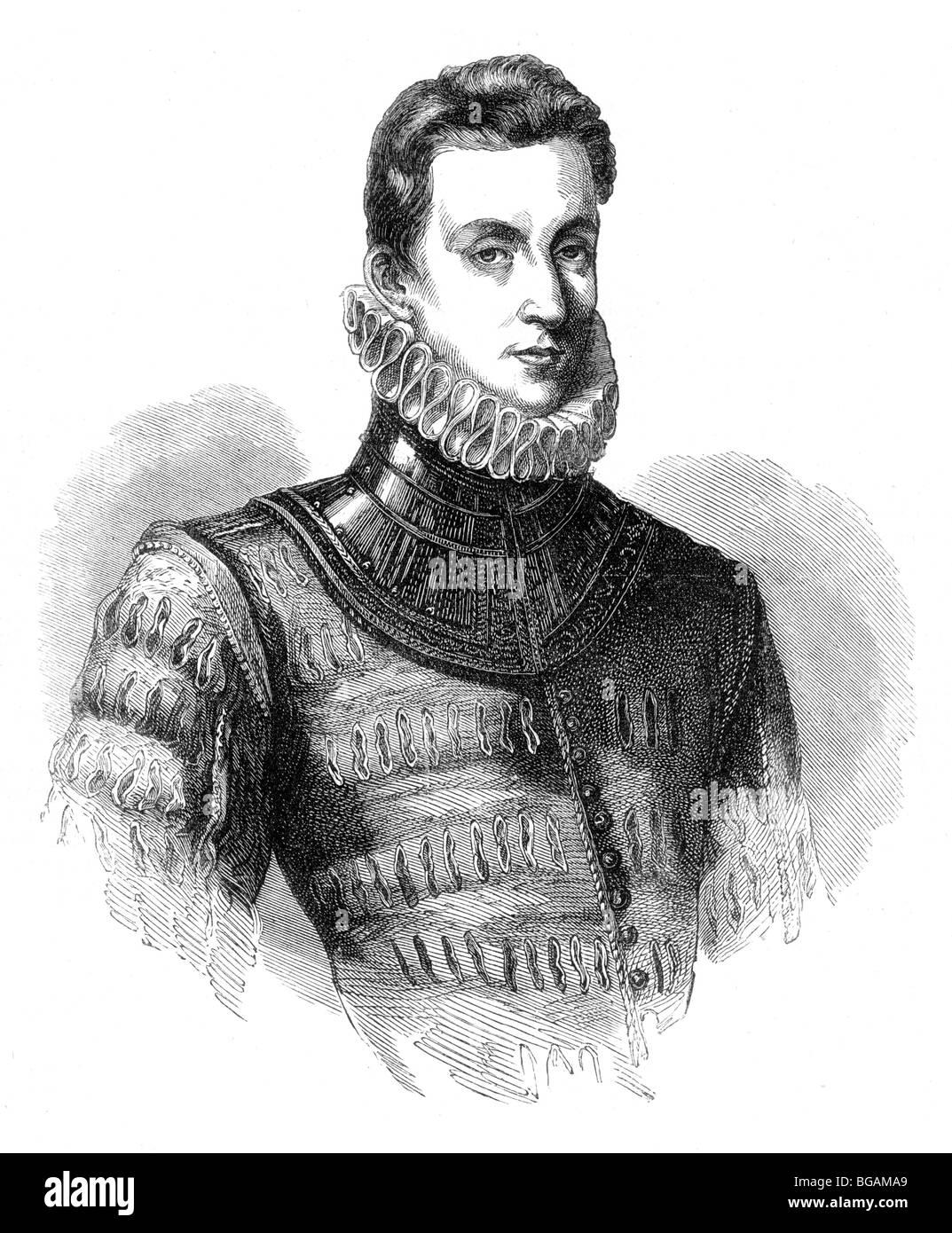 Illustration; Portrait of Sir Philip Sidney, English Poet, b 1554 d 1586 - Stock Image