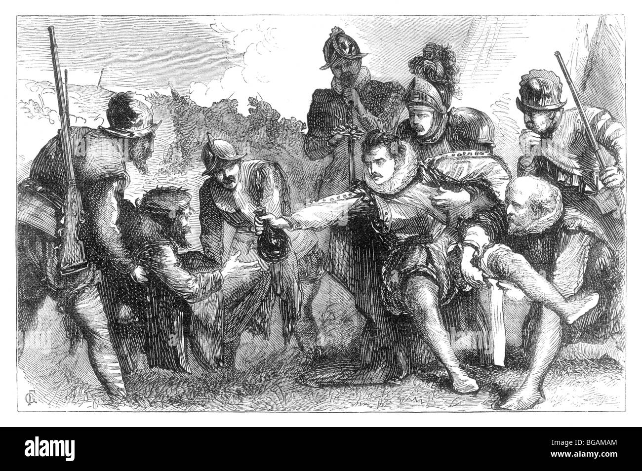 Illustration; The Mortally Wounded Sir Philip Sidney at the Battle of Zutphen - Stock Image