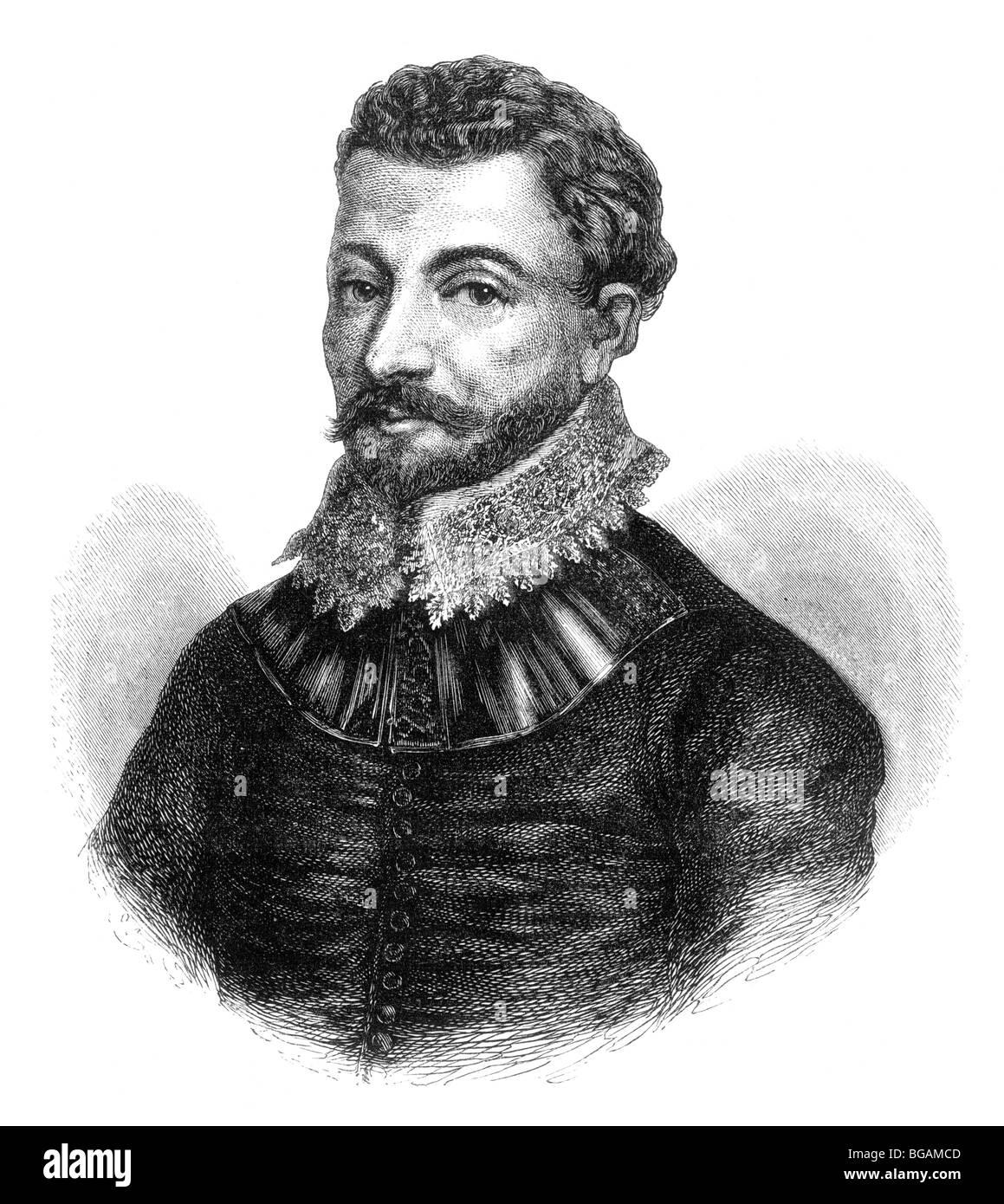 Illustration portrait of sir francis drake stock image