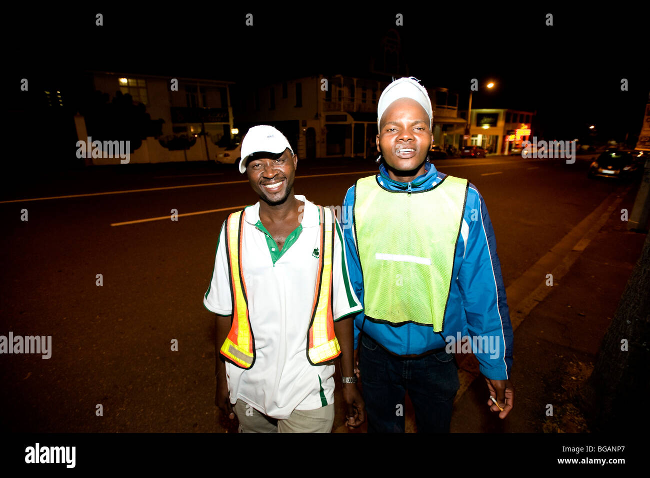 Durban 'car guards' along Florida Road. Durban, South Africa - Stock Image