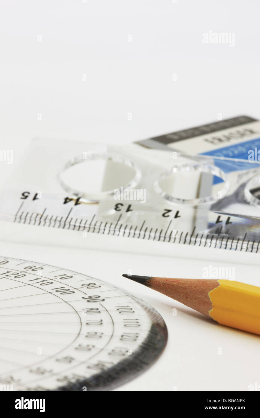 'Rulers,eraser and pencil' - Stock Image