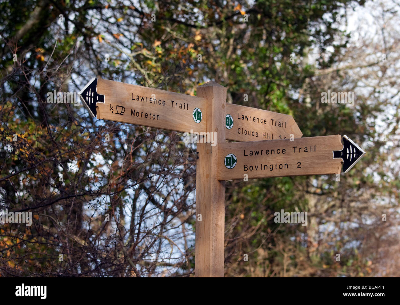 Signpost on the Lawrence Trail, a footpath linking Moreton Bovington and Clouds Hill  all closely associated with - Stock Image