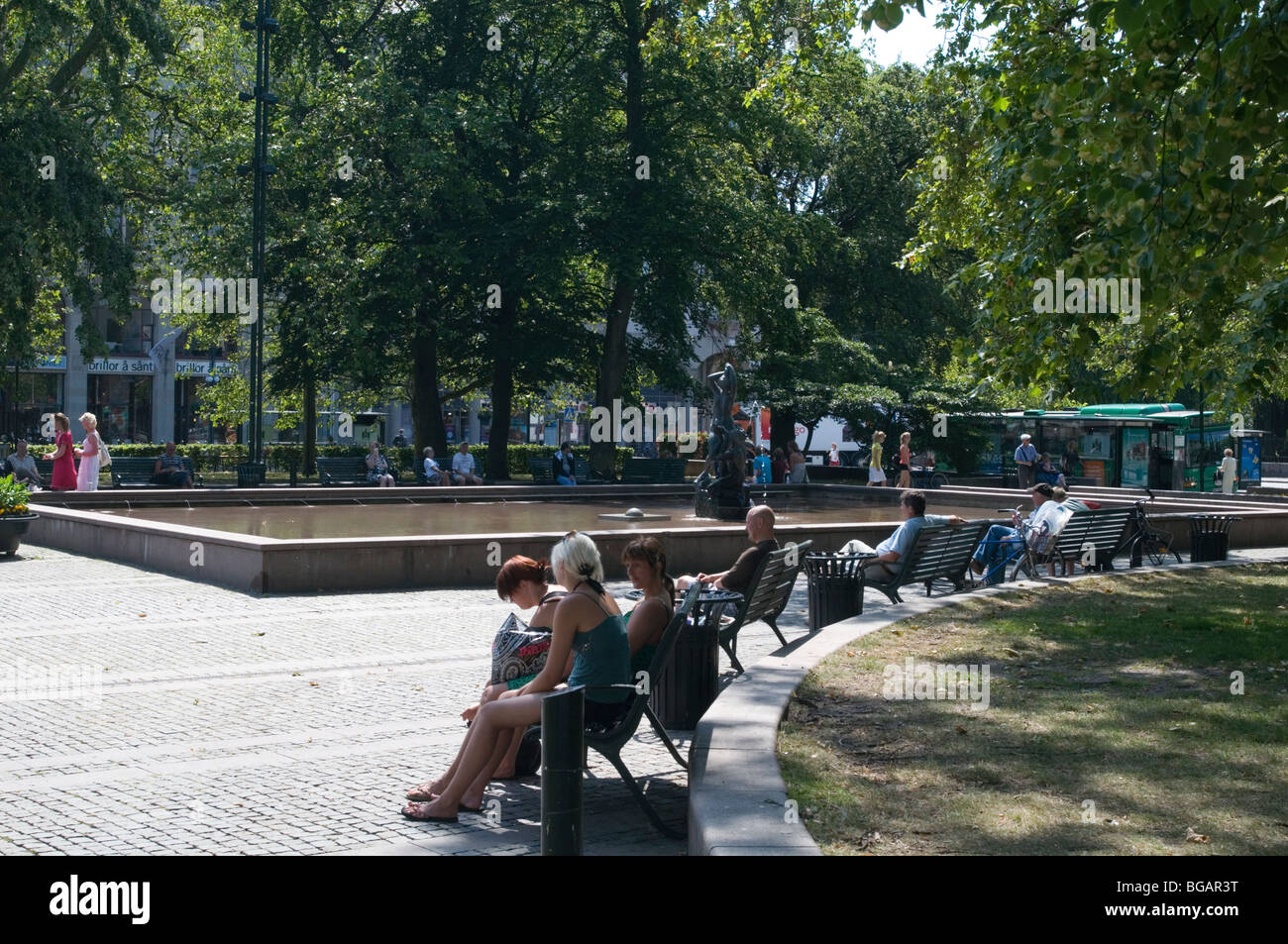 malmo sweden summertime summer time in city cites swedish center town sunny warm weather relax relaxed atmosphere - Stock Image