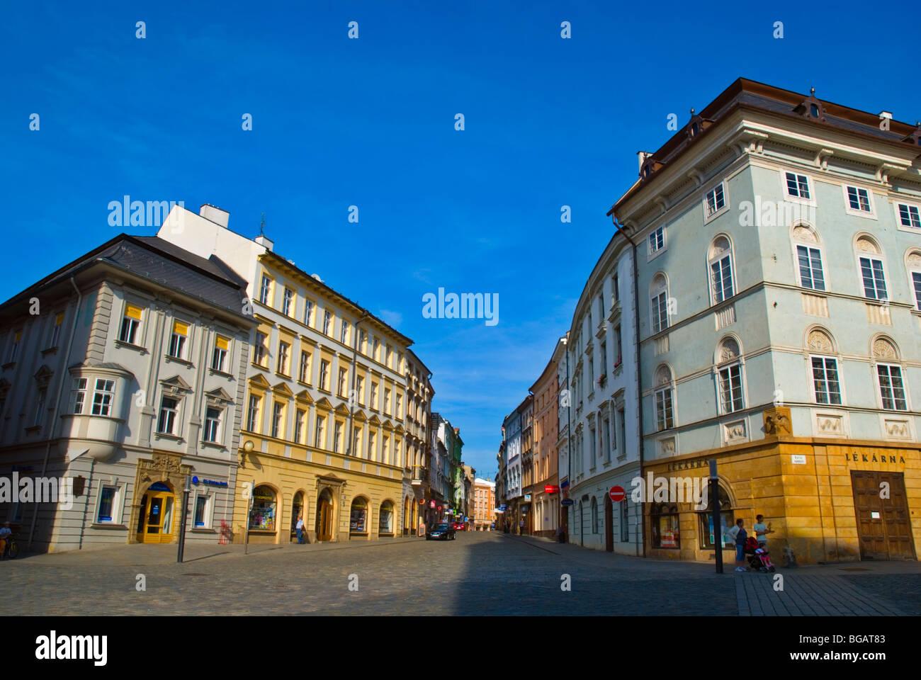 Riegrova street off Horni namesti square in Olomouc Czech Republic Europe - Stock Image