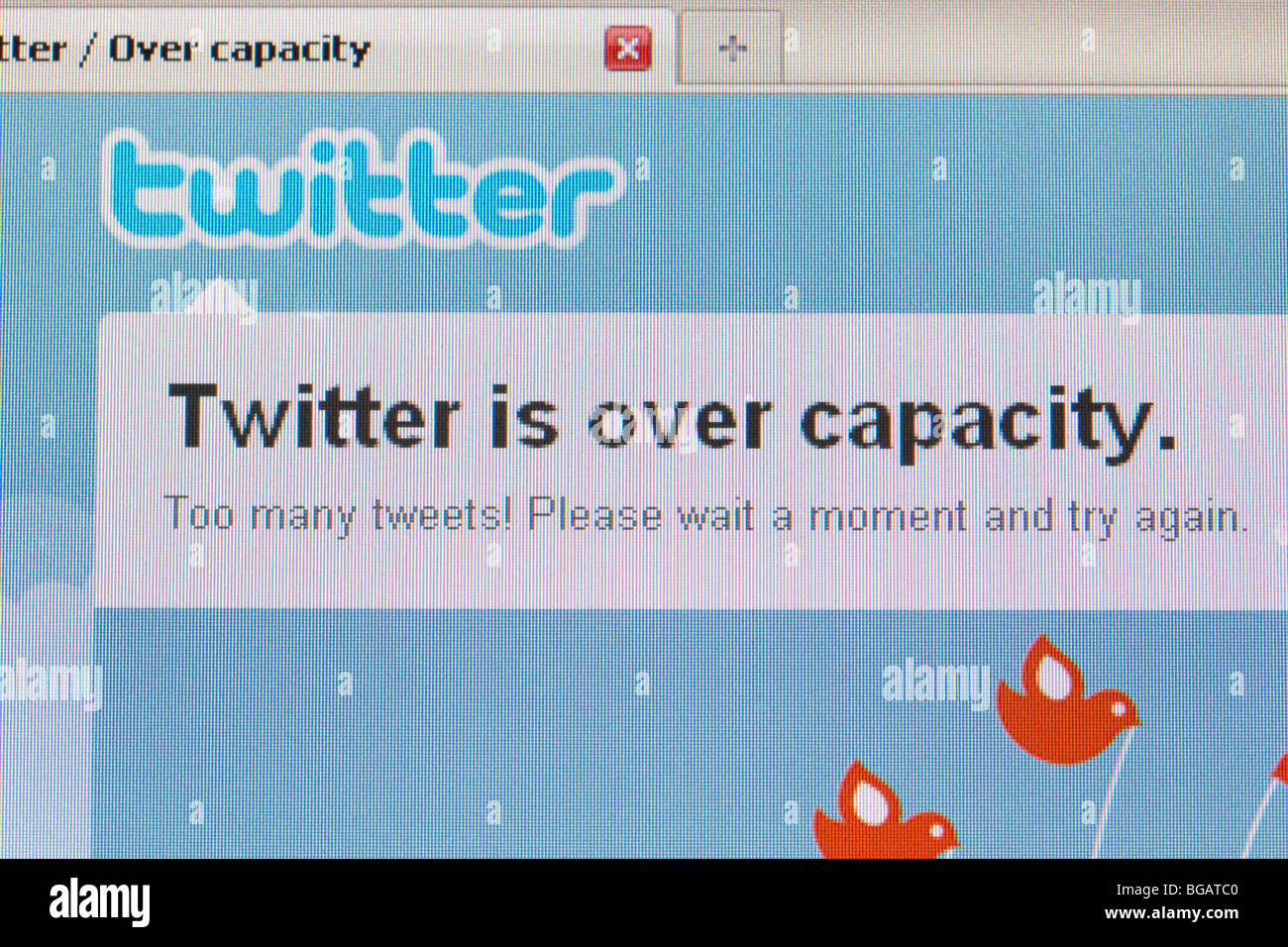 twitter is over capacity screenshot of website for editorial use only - Stock Image
