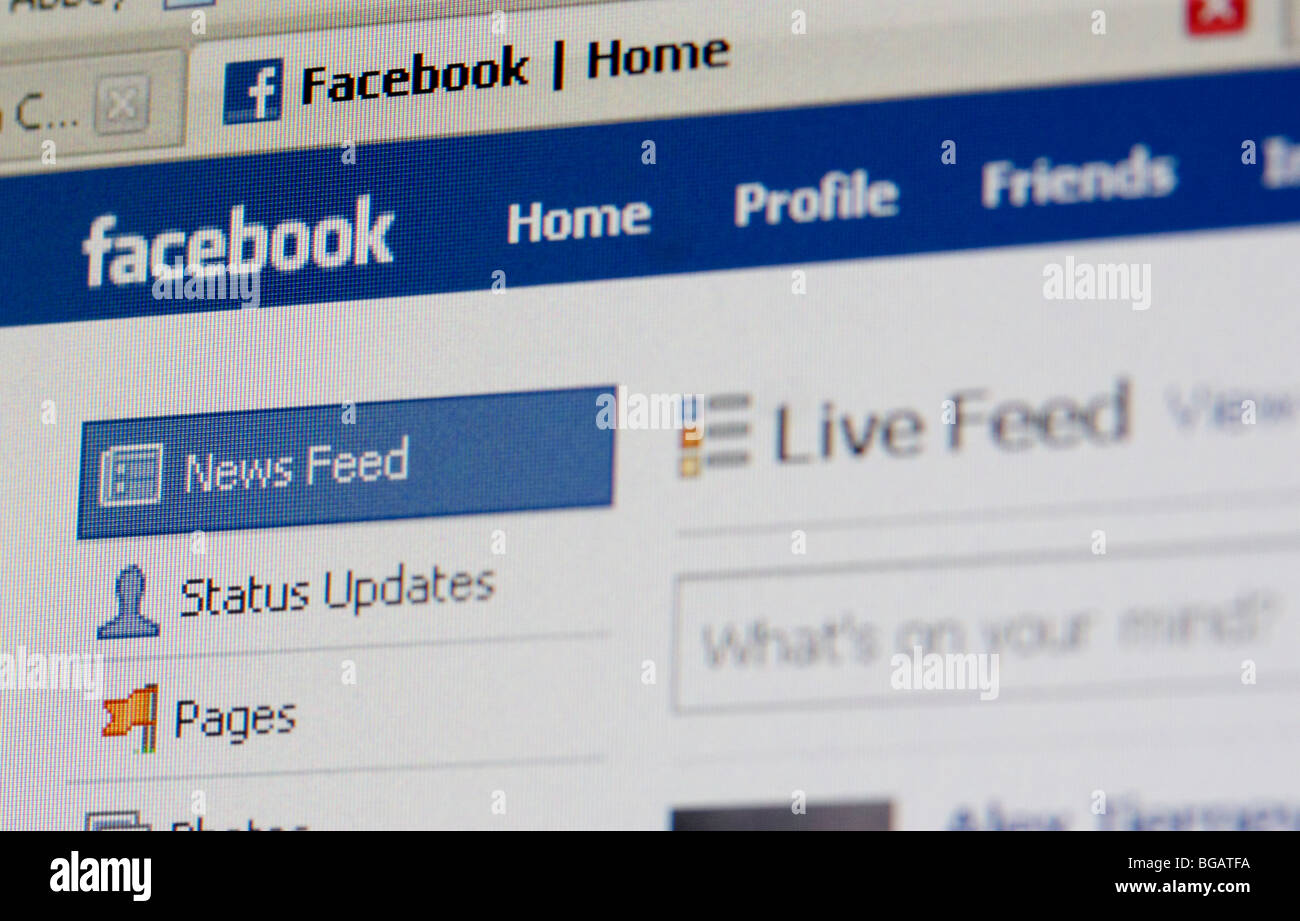 screenshot of logged in home page of facebook social networking website for editorial use only - Stock Image