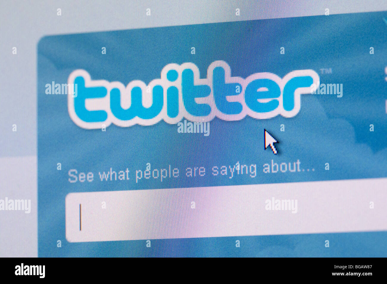 screenshot of search box on twitter social networking website for editorial use only - Stock Image