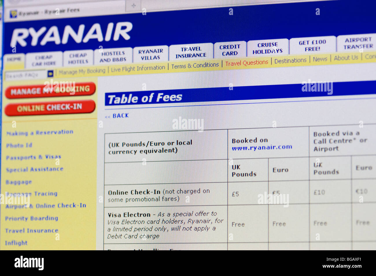 screenshot of table of fees on ryanair website for editorial use only - Stock Image