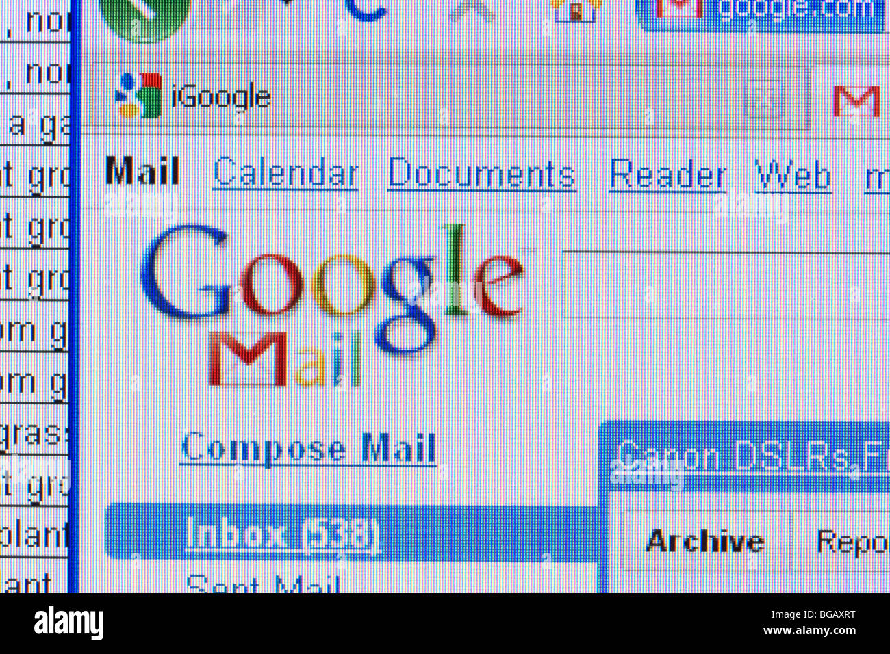 screenshot of googlemail website with spreadsheet in the background for editorial use only - Stock Image