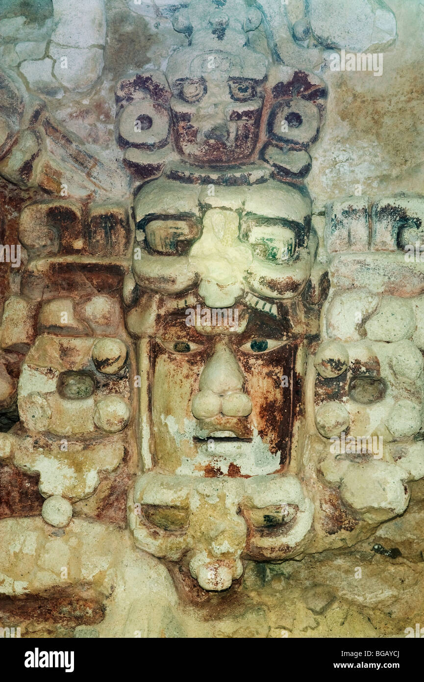Mask of SunGod Kinichna on Structure X, Becan Maya Ruins, Yucatan Peninsula, MEXICO - Stock Image