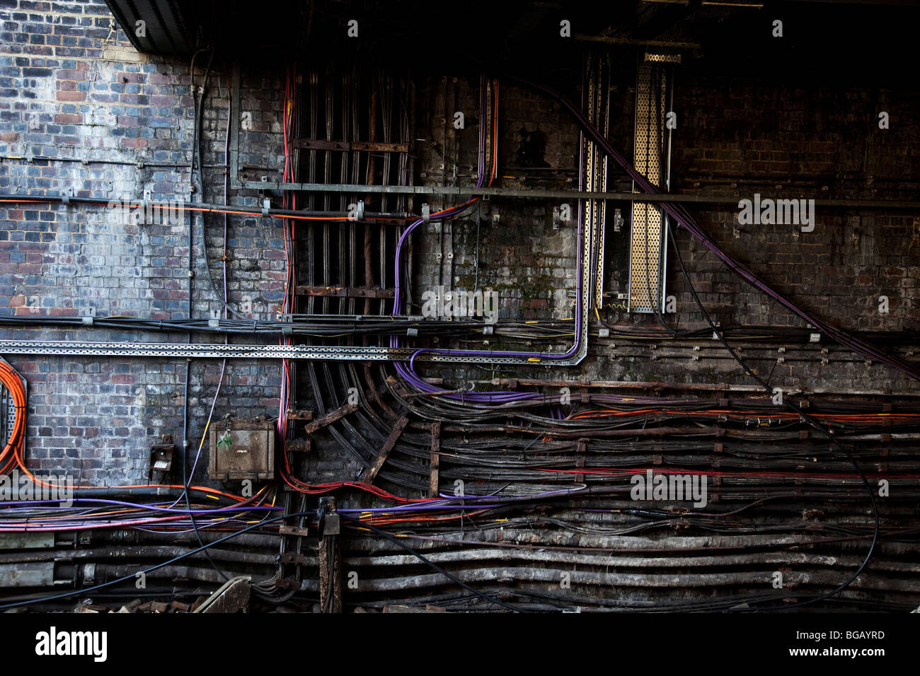 Complex cable system on London Underground. Wires and leads are all ...