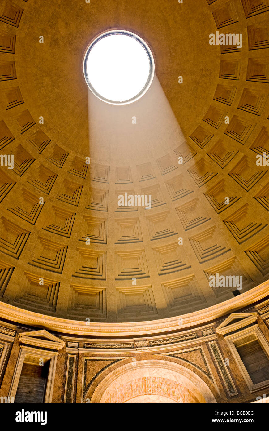 Rome, Italy. Interior of the Pantheon at the Piazza della Rotonda the Oculus and the coffered ceiling. - Stock Image