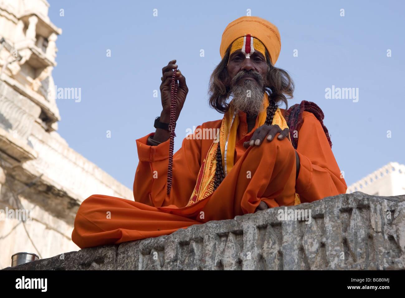 India Rajasthan Udaipur Jagdish Mandir Sadhu Stock Photo