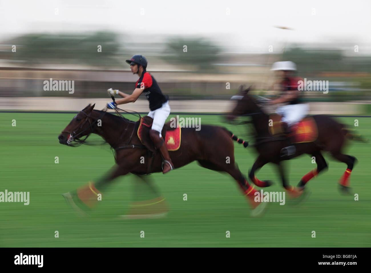 Polo Match at Habtoor Polo Club, Dubai, United Arabian Emirates - Stock Image