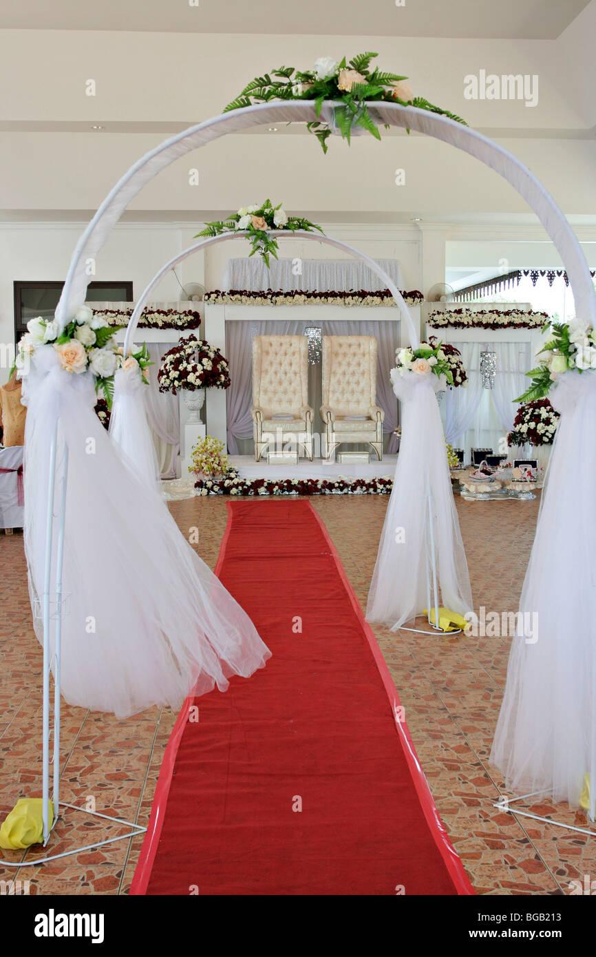 Traditional Malay wedding dais in Terengganu, Malaysia. - Stock Image