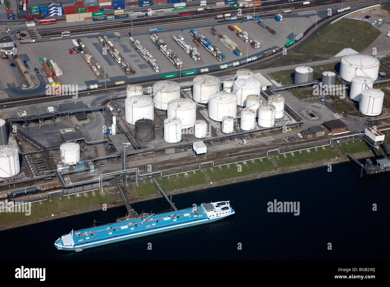 Duisport harbor and logistic center at the Rhine, biggest inland harbor of the world. Duisburg, NRW, Germany, Europe. - Stock Image