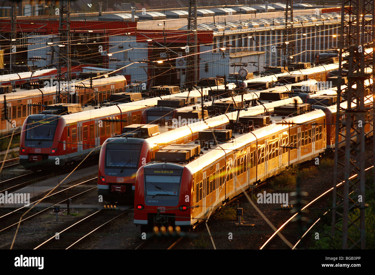 city trains on tracks in front of the central Station, Essen, Germany, Europe. - Stock Image