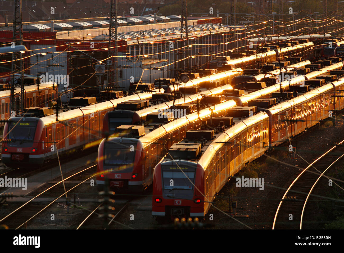 city trains on tracks in front of the central Station, Essen, Germany, Europe. Stock Photo