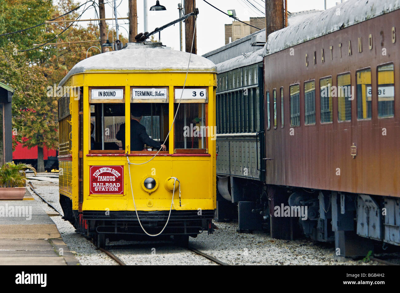 Trolley at the Chattanooga Choo Choo Station in Chattanooga, Tennessee - Stock Image