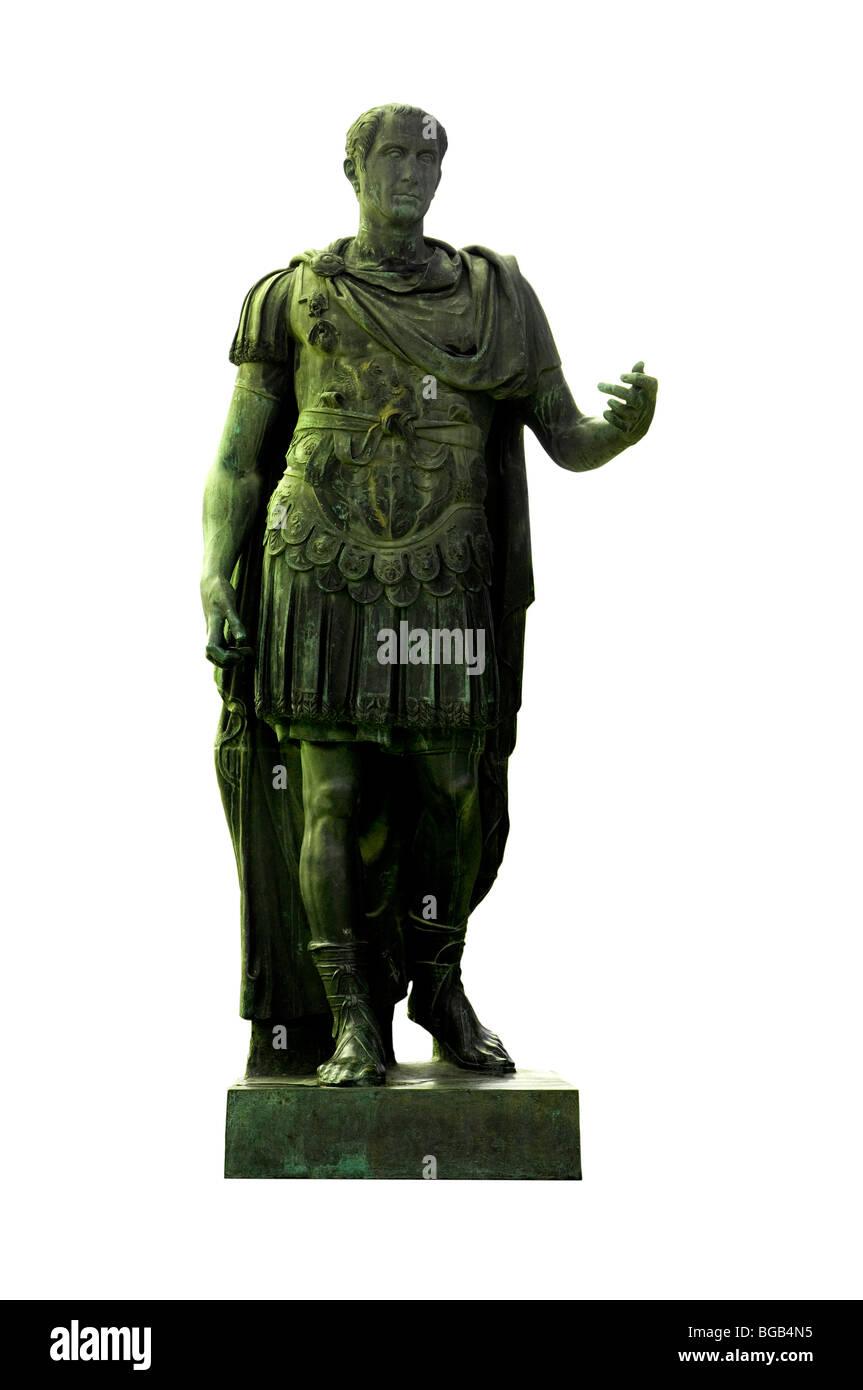 Bronze statue of dictator Julius Caesar on Via dei Fori Imperiali, Rome, Italy - Stock Image