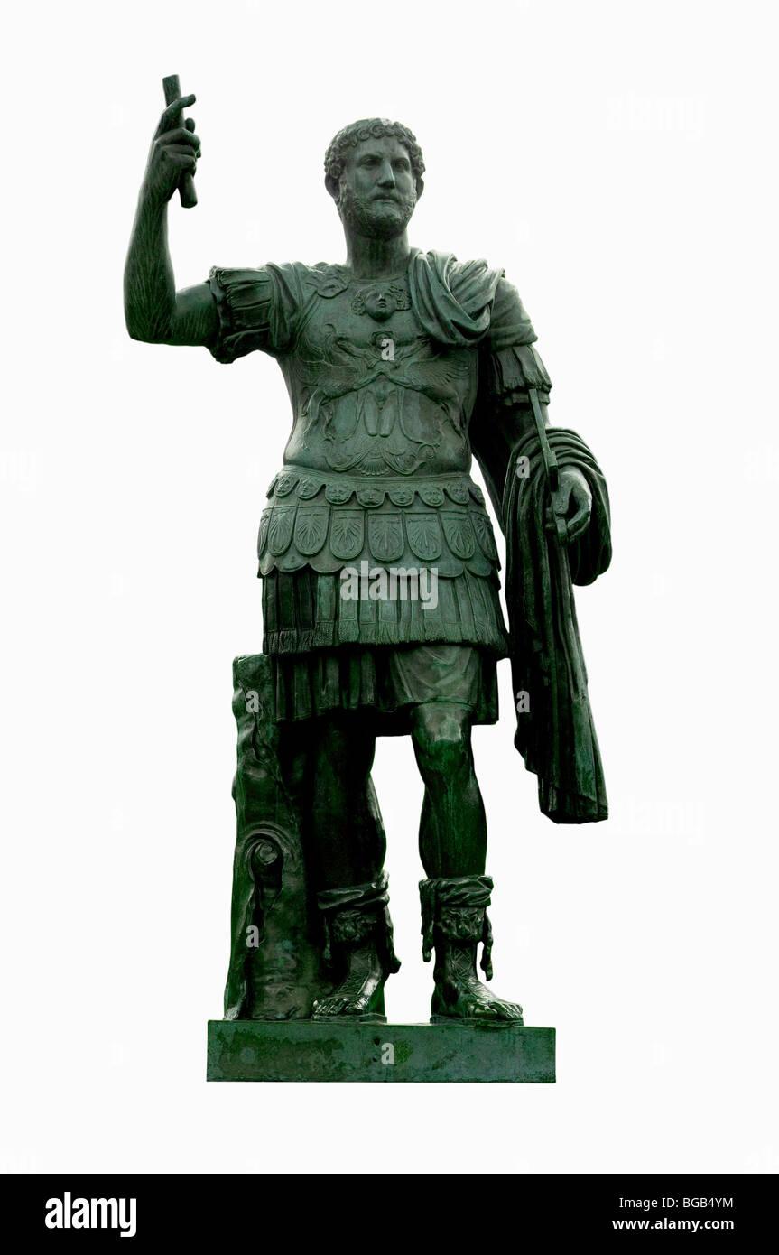 Bronze statue of emperor Hadrian in the Giardini di Castel Sant'Angelo, Rome, Italy - Stock Image