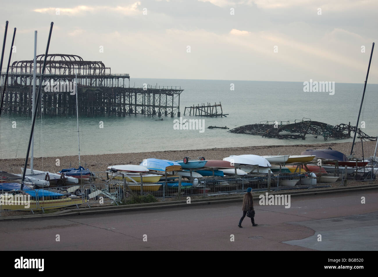The Old West Pier, Brighton, UK - Stock Image