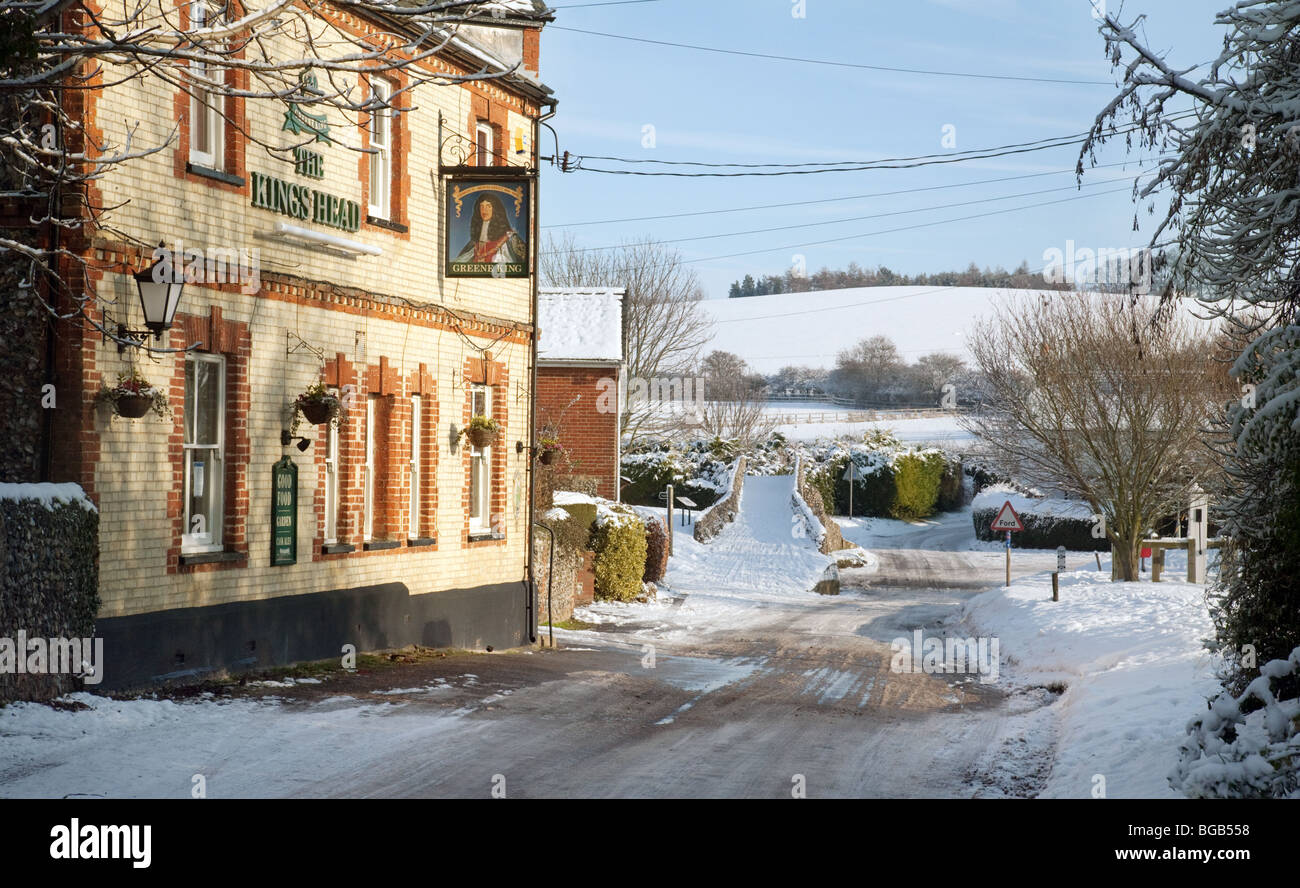 Winter in the village of Moulton near Newmarket, Suffolk UK - Stock Image