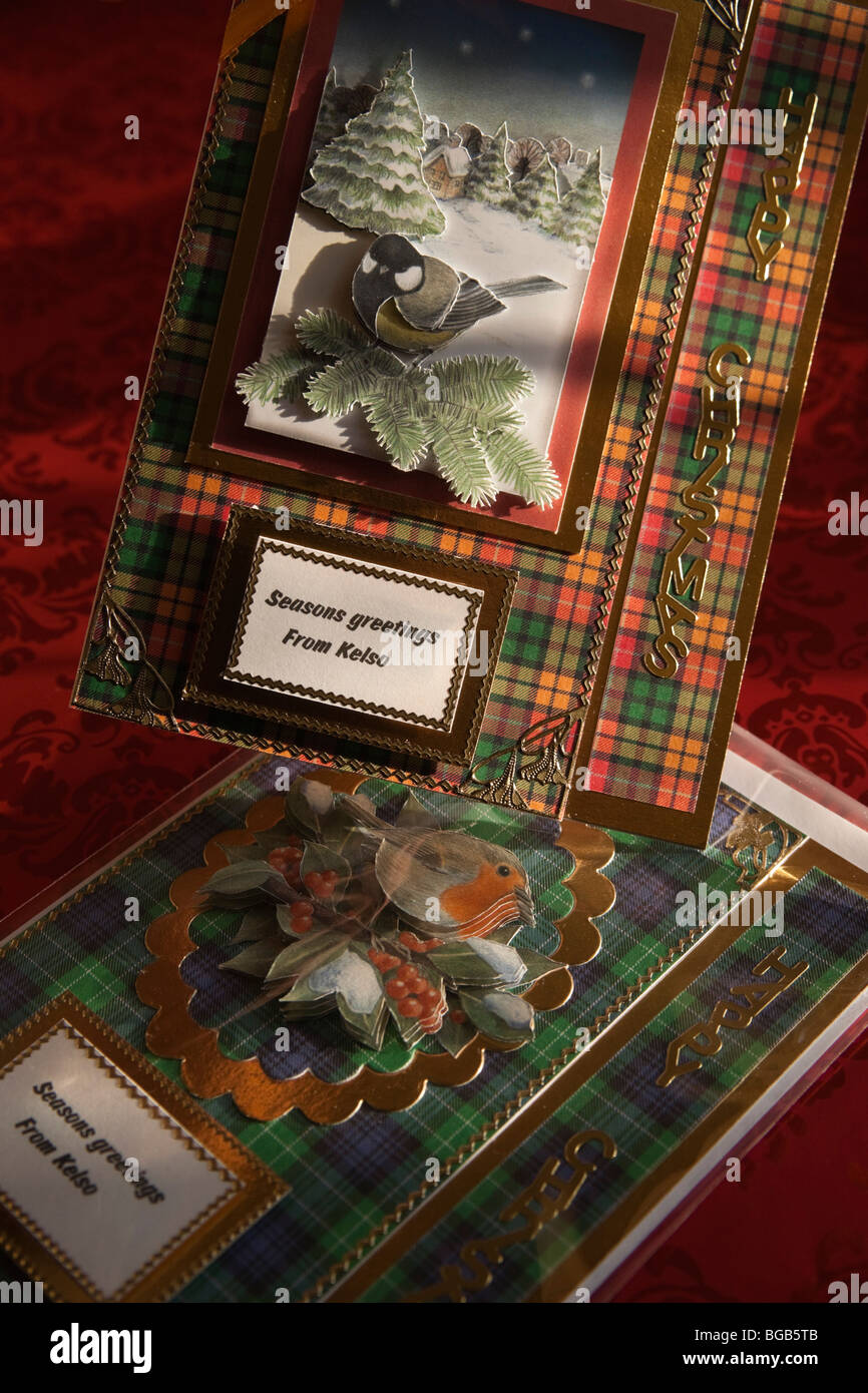 Handmade craft découpage Christmas cards from Scotland made by Heather Nicol of Kelso - each one individually - Stock Image