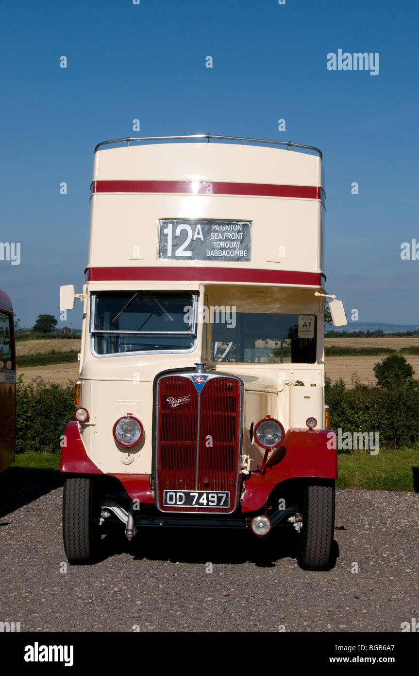 Vintage AEC Regent open top bus that was operated by Devon General and has now been restored and preserved. - Stock Image