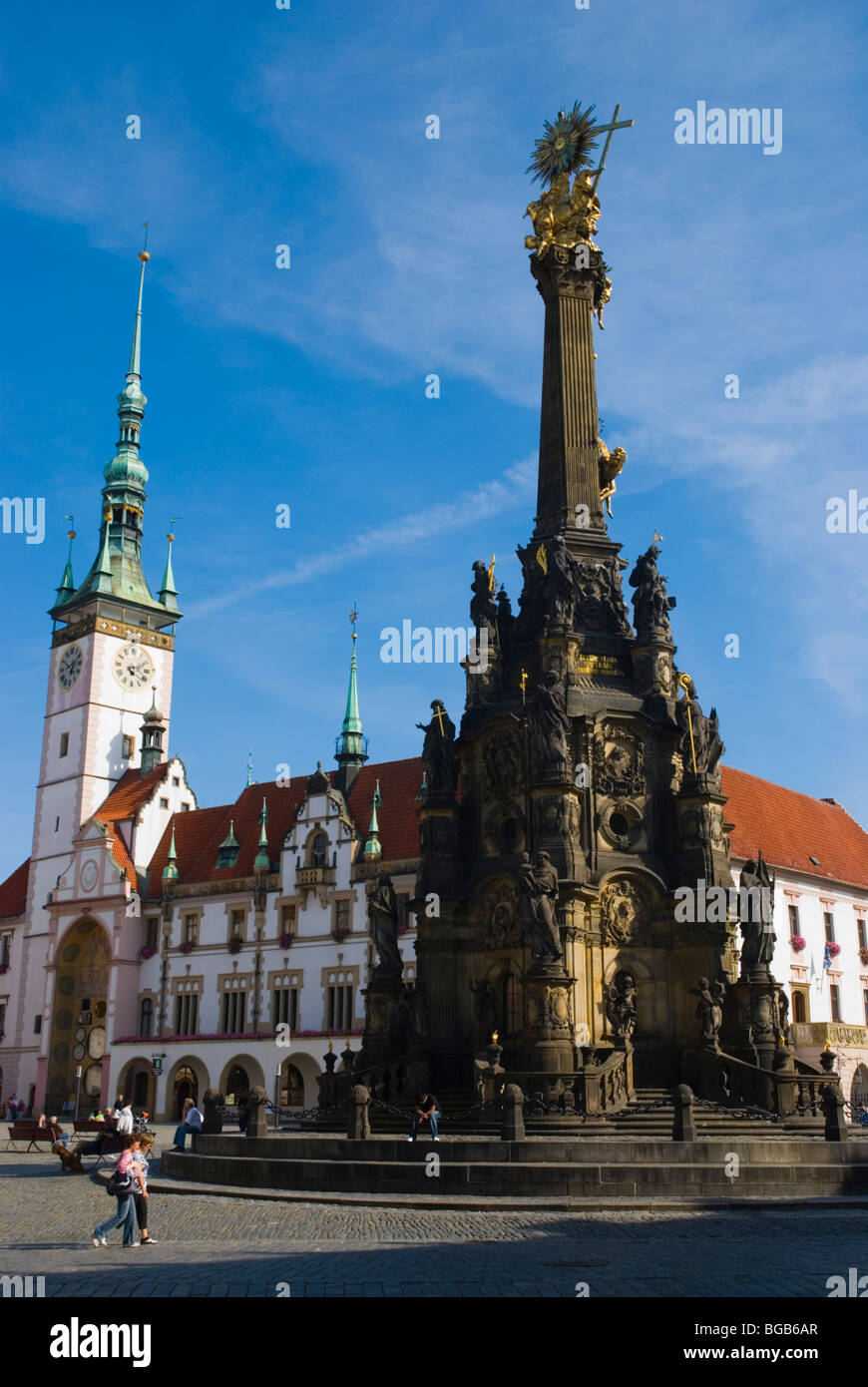Holy Trinity Column and town hall at Horni namesti square in Olomouc Czech Republic Europe - Stock Image