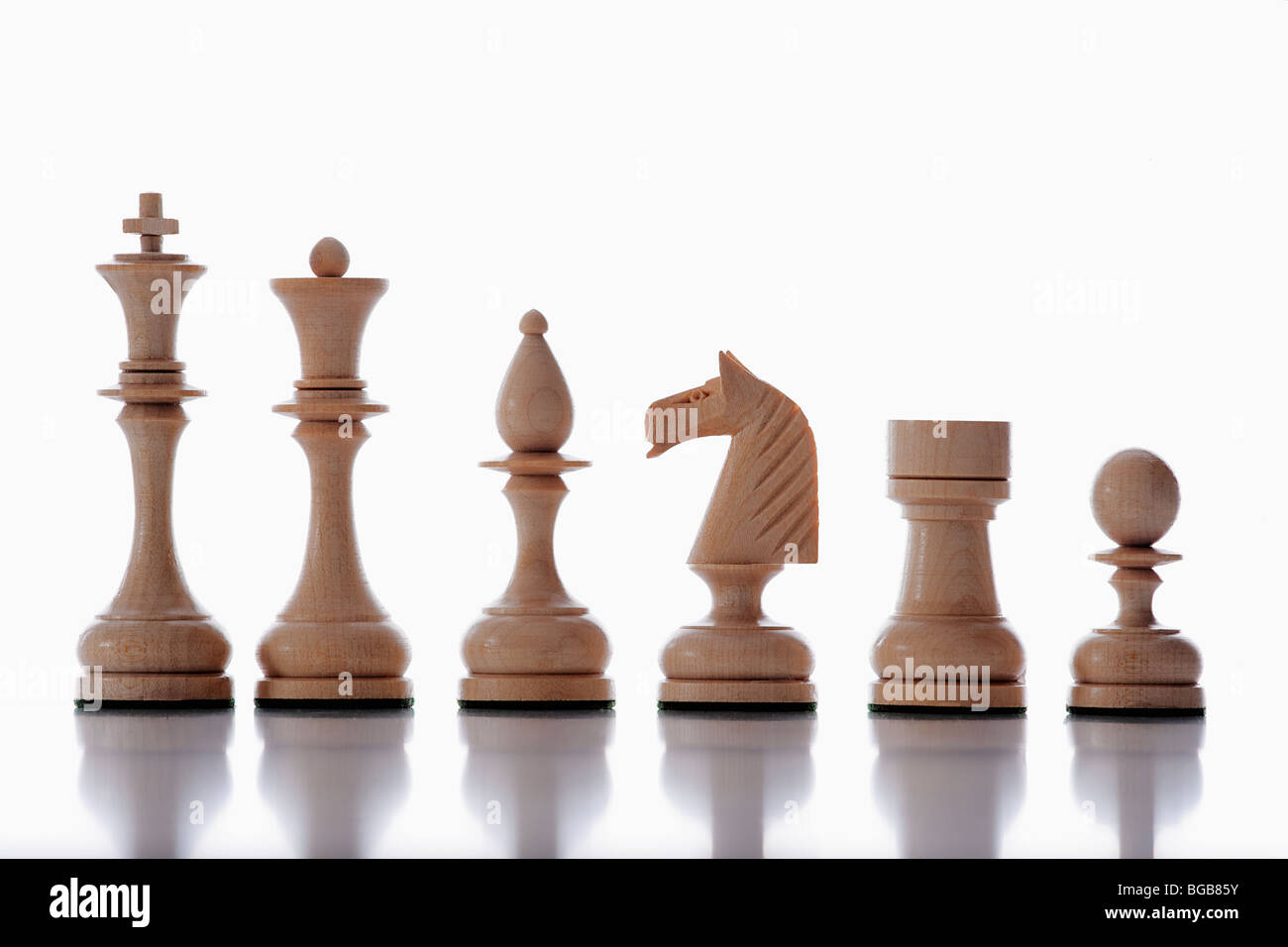 chess - collection of white chess pieces isolated on white background - Stock Image