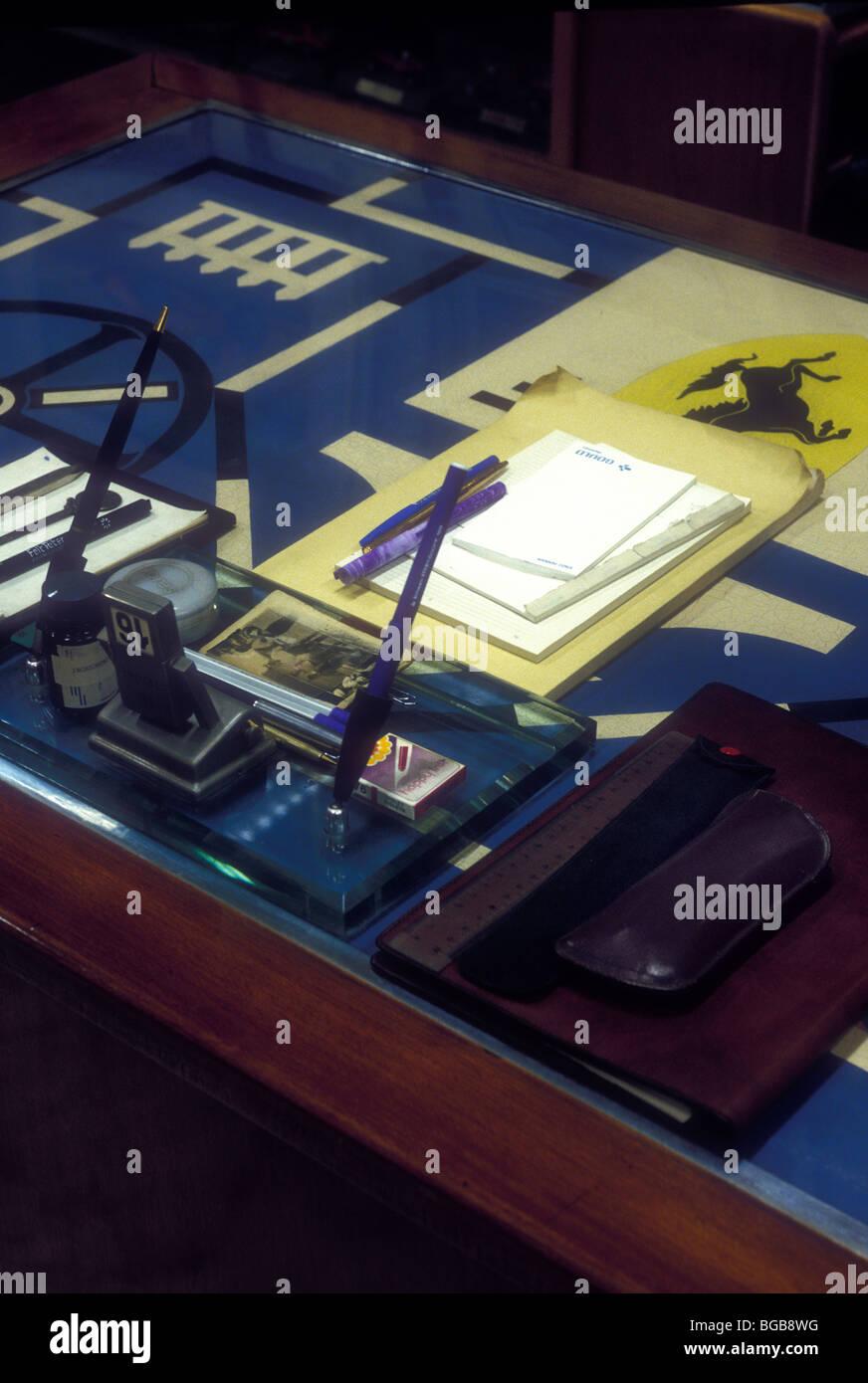 Enzo Ferrari's desk in the Original Modena office 1987. - Stock Image