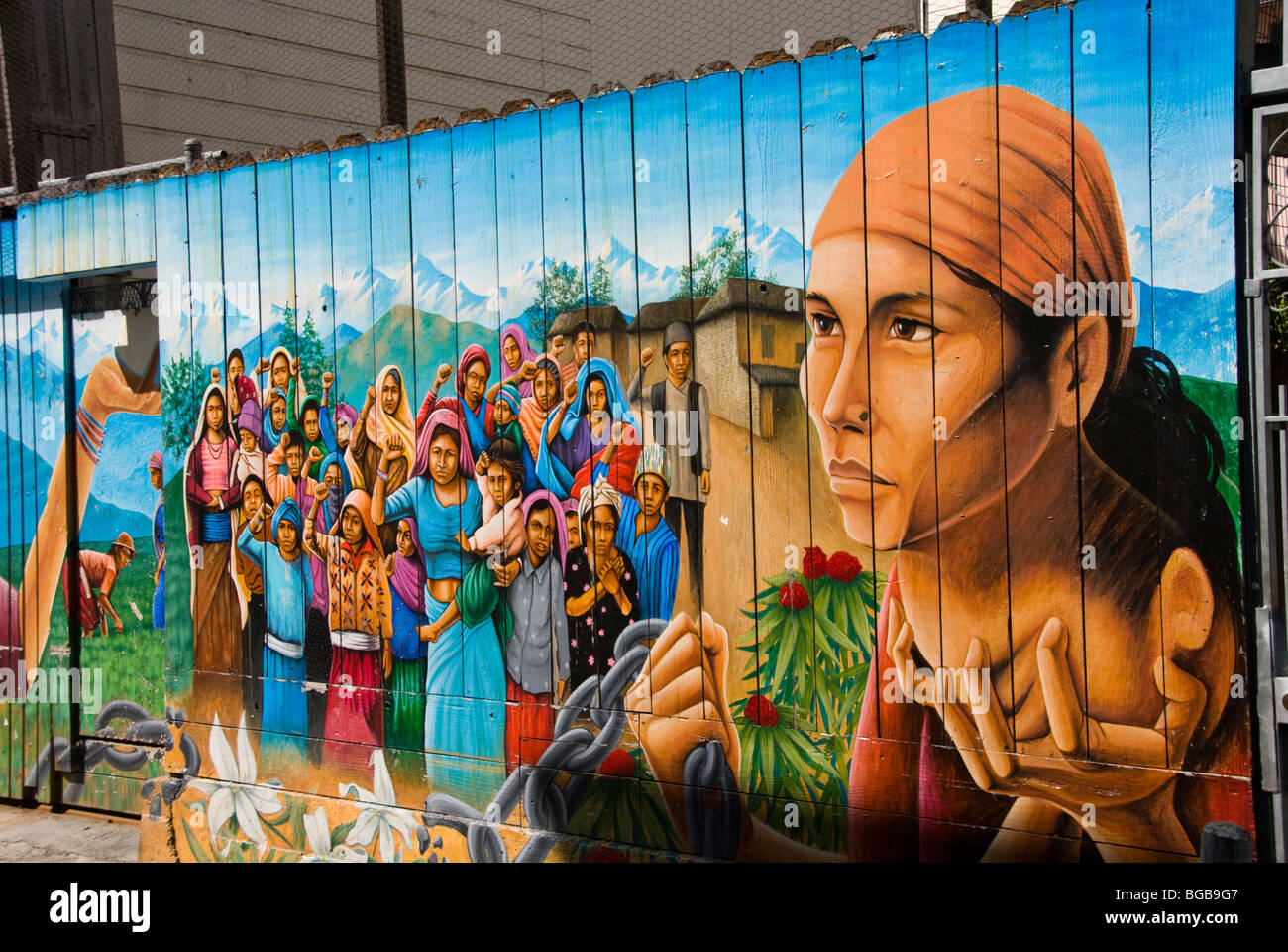 California: San Francisco. Mission district murals, Hispanic themes. Photo copyright Lee Foster. Photo # 26-casanf78544. - Stock Image