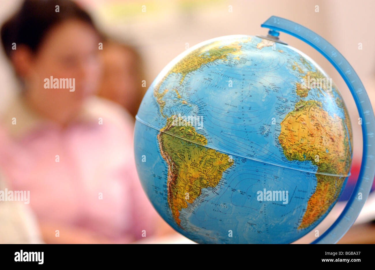 Royalty free photograph of student class geography globe college university - Stock Image