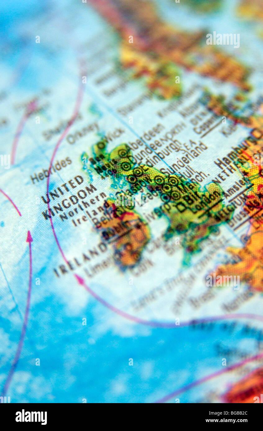 Map Of Uk On Globe.Photograph Of Uk England United Kingdom Maps Globe Travel Atlas