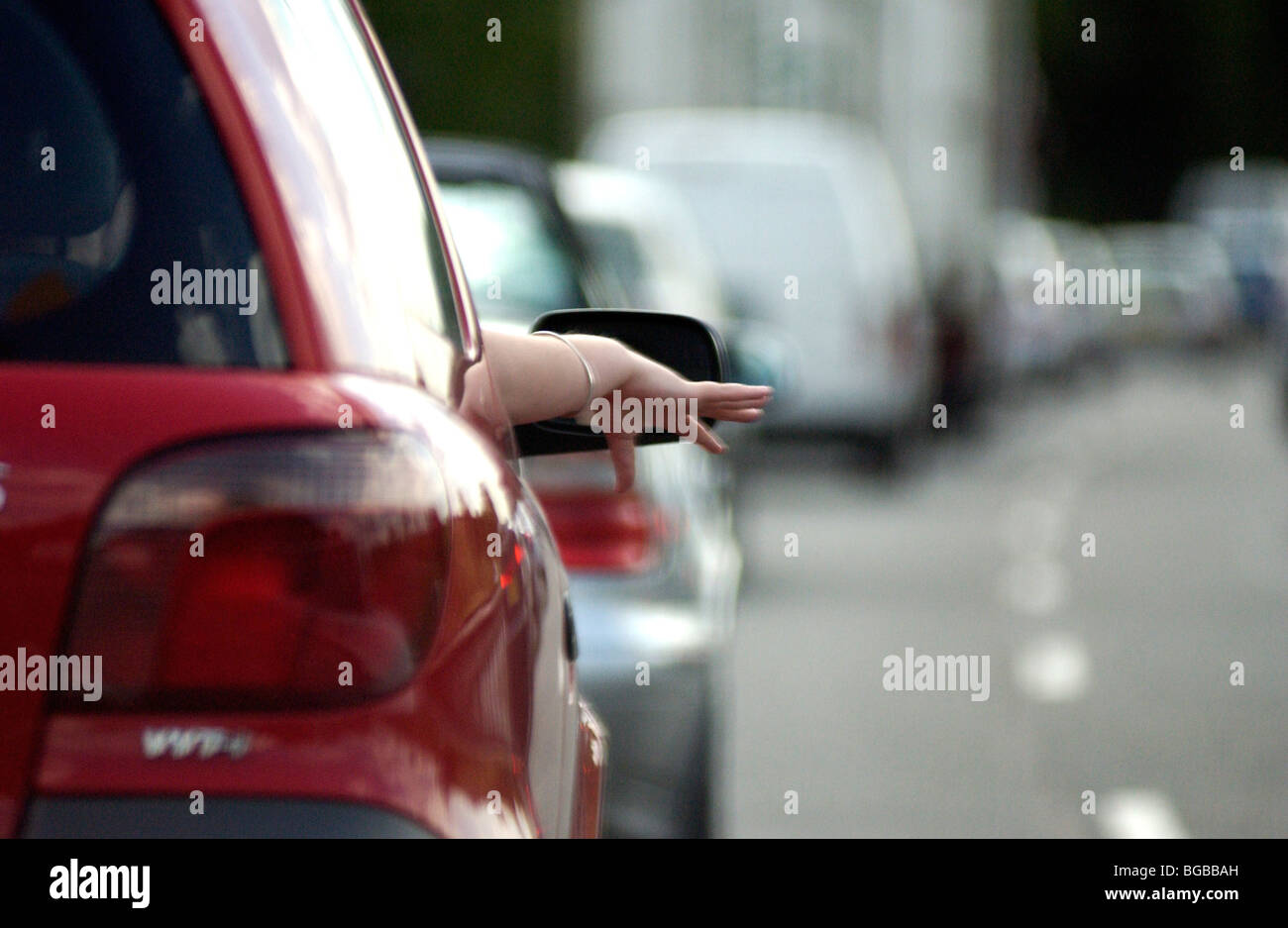 Motorway Delay Stock Photos Images Alamy In Car Lights Royalty Free Photograph Of Woman Traffic Jam Congestion Queuing Bored M25