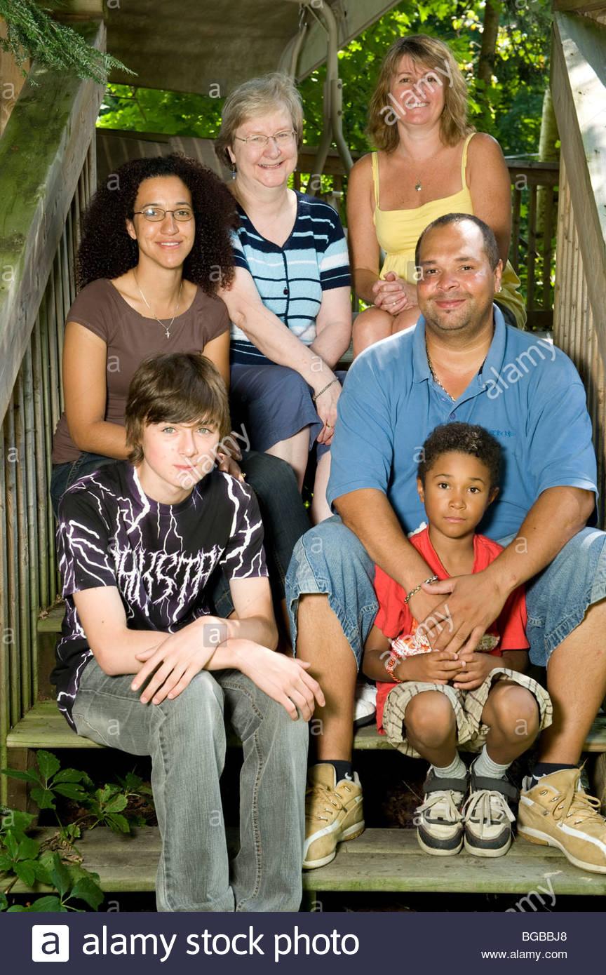 Mixed Race, Family, three generations - Stock Image
