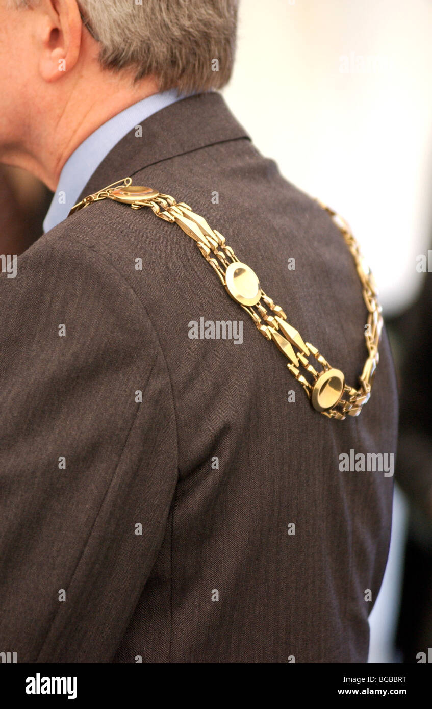 Royalty free photograph of a mayor's chain at a public event with local major at local authority event London - Stock Image
