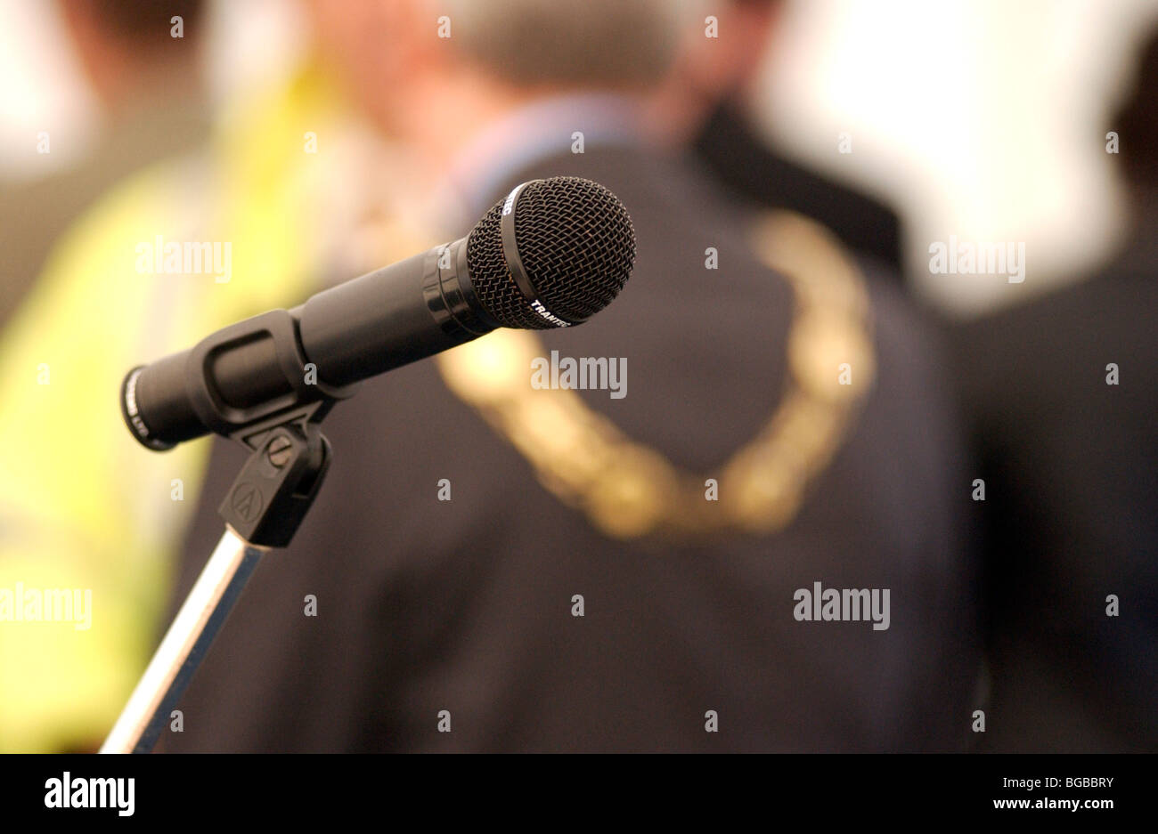 Royalty free photograph of a microphone at a public event with local major at local authority event London UK - Stock Image