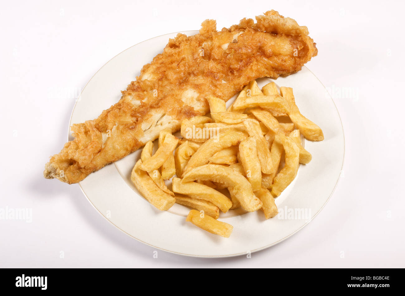 Plate of Fish and chips - Stock Image