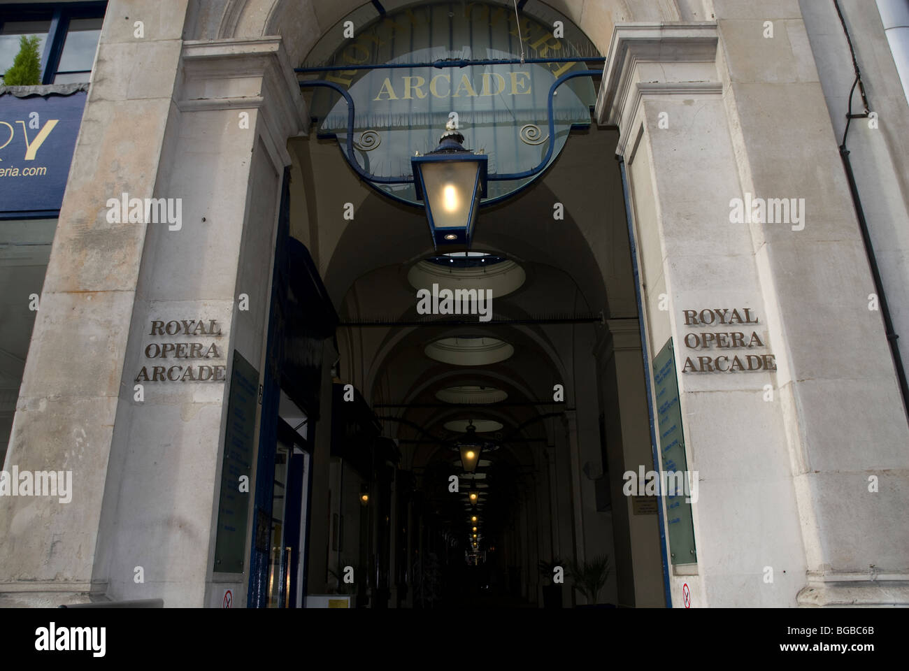 Entrance to the Royal Opera Arcade off the Haymarket, London W1 UK Stock Photo