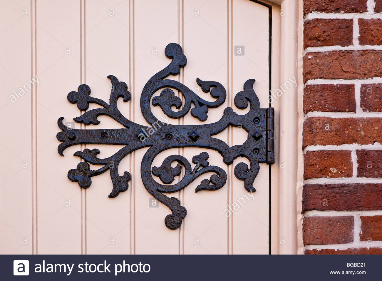 Hinge on the side door of the historic Enoch Turner Schoolhouse in Toronto Ontario Canada - Stock Image