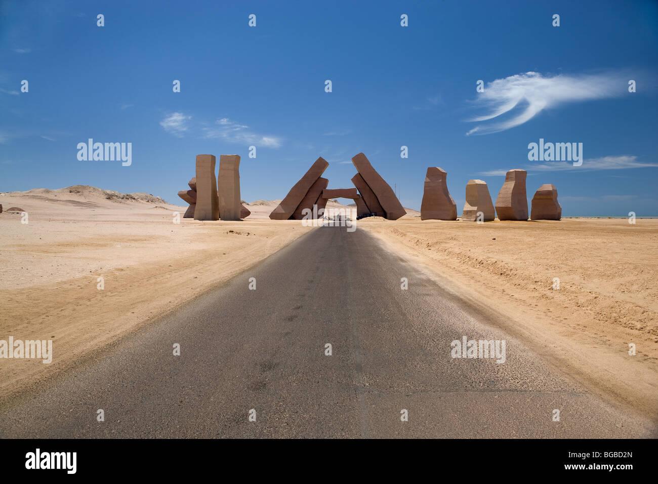 Africa, Egypt, Sharm el Sheikh, national park Ras Mohammed, entry monument, colors, sky, desert, - Stock Image