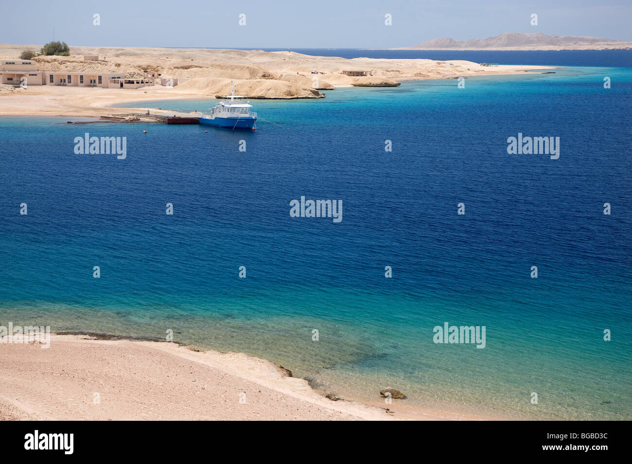 Africa, Egypt, Sharm el Sheikh, national park Ras Mohammed, beach, sea, water, blue, colors, boat - Stock Image